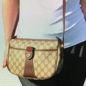 Gucci GG pattern PVC leather shoulder cross body.